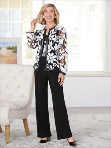 Blossoming Applique Mesh Jacket & Ultima Knit Separates