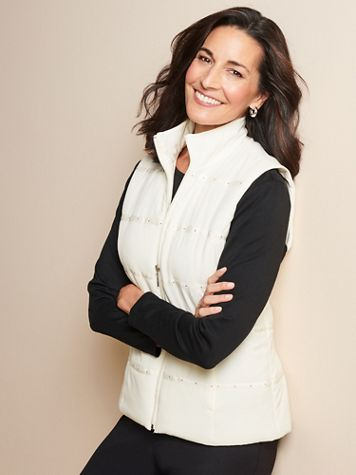 Nailhead Trim Microfiber Vest - Image 1 of 4