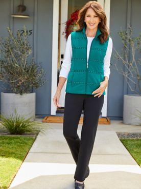 Nailhead Trim Microfiber Vest & Go Everywhere Knit Pants by D&D Lifestyle™