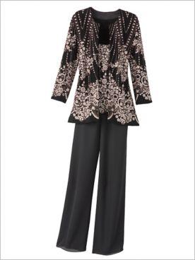 Deco Floral Twin Set & Georgette Slim Leg Pants