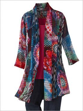 Tie Dye Dream Print Mesh 3/4 Sleeve Jacket