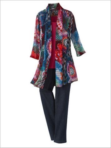 Tie Dye Dream Print Mesh Jacket & Basic Tank