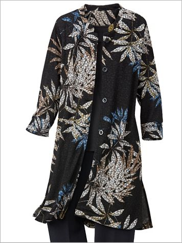 Falling Leaves Textured Knit Duster Jacket
