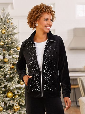 Starlight Sparkle Zip Front Long Sleeve Jacket - Image 2 of 3
