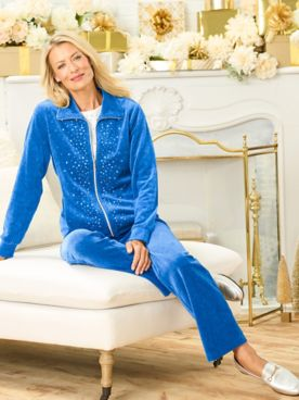 Starlight Sparkle Zip Front Jacket & Velour Pants by D&D Lifestyle™