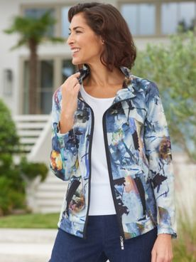 Picadilly Blue Fog Abstract Floral Long Sleeve Jacket