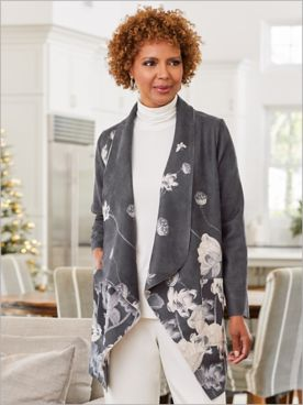 Picadilly Luxury Faux Suede Floral Print Jacket