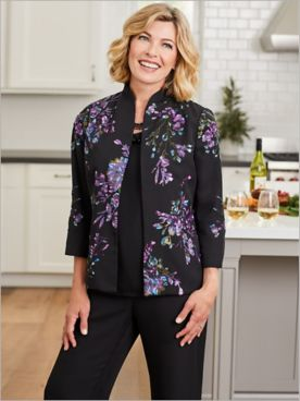 Sequin Floral Jacket & Georgette Separates
