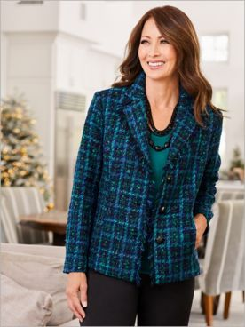 Crown Jewel Tweed Long Sleeve Jacket