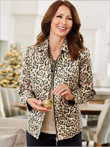 Gilded Cheetah Jacquard Long Sleeve Jacket - Image 2 of 2