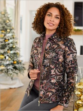 Posh Paisley Jacquard Long Sleeve Jacket