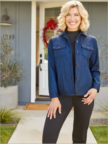 Midnight Magic Jacket & Soft Spun® Short Sleeve Mock Neck Sweater