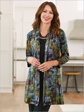 Prism Print Open Front 3/4 Sleeve Jacket