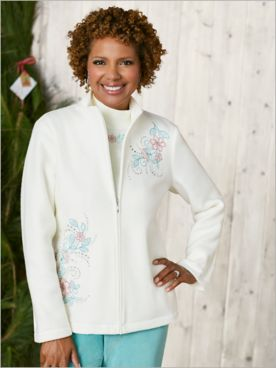 St. Moritz Fleece Embroidered Jacket by Alfred Dunner