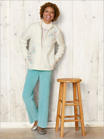 St. Mortiz Fleece Embroidered Jacket & Cord Pants by Alfred Dunner