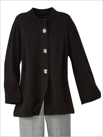 Alfred Dunner 3/4 Sleeve Sweater Jacket