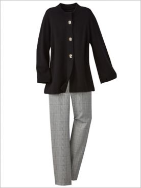 Madison Avenue Sweater Jacket & Plaid Pants by Alfred Dunner