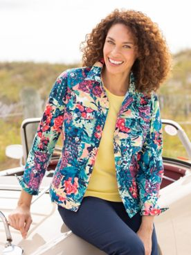 Patchwork Paradise Twill Long Sleeve Jacket