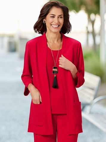 Textured Stretch Crepe 3/4 Sleeve Topper