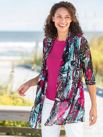 Mix And Match Print Mesh 3/4 Sleeve Jacket - Image 2 of 2