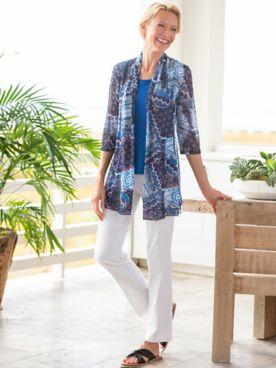 Mosaic Mix Print Mesh Jacket & Slimtacular® Ultimate Fit Pants