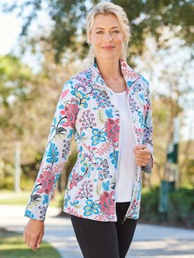 Pretty Paisley Knit Long Sleeve, Zip-Up Jacket