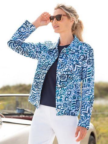 Alfred Dunner Classics French Terry Ikat Print Jacket