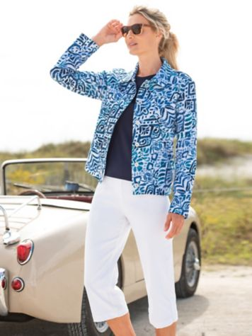 Classics French Terry Ikat Jacket & Slimtacular® Capris