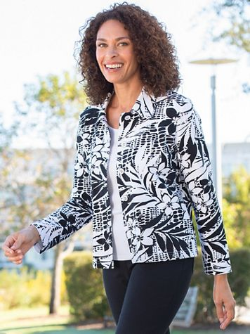 Alfred Dunner Classic French Terry Tropical Print Jacket - Image 1 of 1