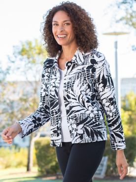 Alfred Dunner Classic French Terry Tropical Print Jacket