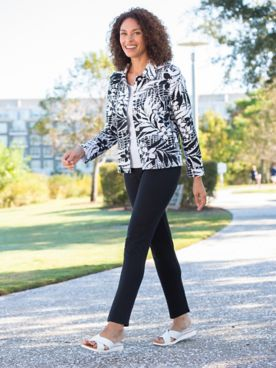 Alfred Dunner Classic French Terry Tropical Print Jacket & Slimtacular® Ponte Knit Pants