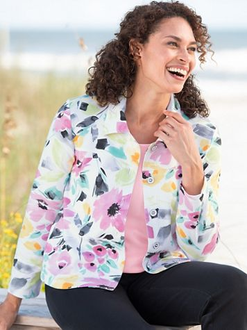 Alfred Dunner Classics French Terry Floral Print Jacket - Image 2 of 2