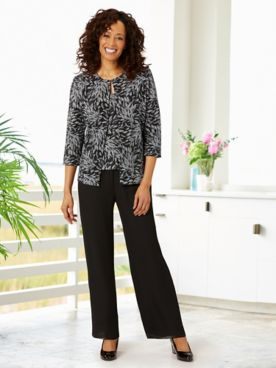Alex Evenings Bursting Bloom Twin Set & Georgette Slim Leg Pants