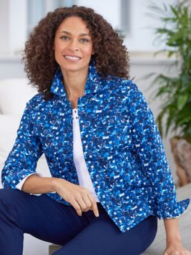Mosaic Sateen Long Sleeve Jacket