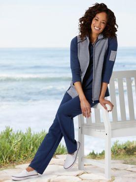 Sailor Stripe Vest & Go Everywhere Knit Pants by D&D Lifestyle