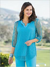 Split Neck Crochet Tunic
