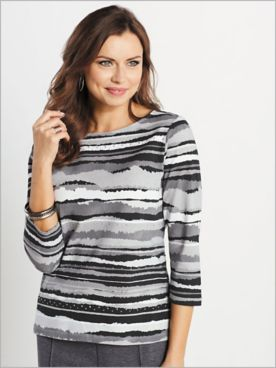 Knit 3/4 Sleeve Stripe Print Tee