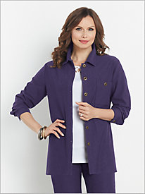 Comfort Knit Color Denim Button Front Shirt