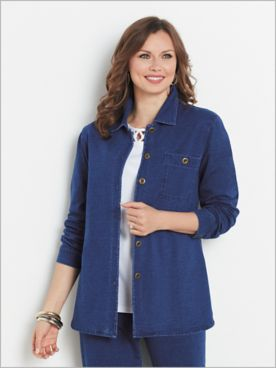 Comfort Knit Denim Button Front Shirt