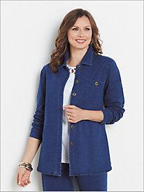 Comfort Knit Denim Button Front Shirt