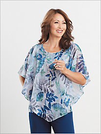 Scattered Leaves Overlay Top by Alfred Dunner
