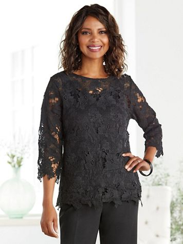 Floral Edge Lace Top - Image 1 of 6