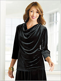 Cowl Neck Velvet Top