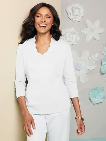 Scallop V-Neck 3/4 Sleeve Tee - Image 1 of 8