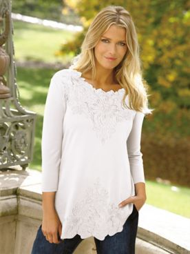 Together Cotton Poly Embroidered Floral 3/4 Sleeve Tee