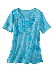 Turks And Caicos Tie Dye Texture Tee by Alfred Dunner