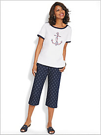 America's Cup Embroidered Anchor Tee & Capris by Alfred Dunner