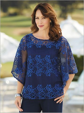 Lace Stripe Poncho Top - Image 0 of 1