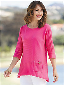 Patch Pocket Textured Knit Tunic