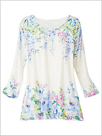 Falling Flowers Knit Top by Alfred Dunner